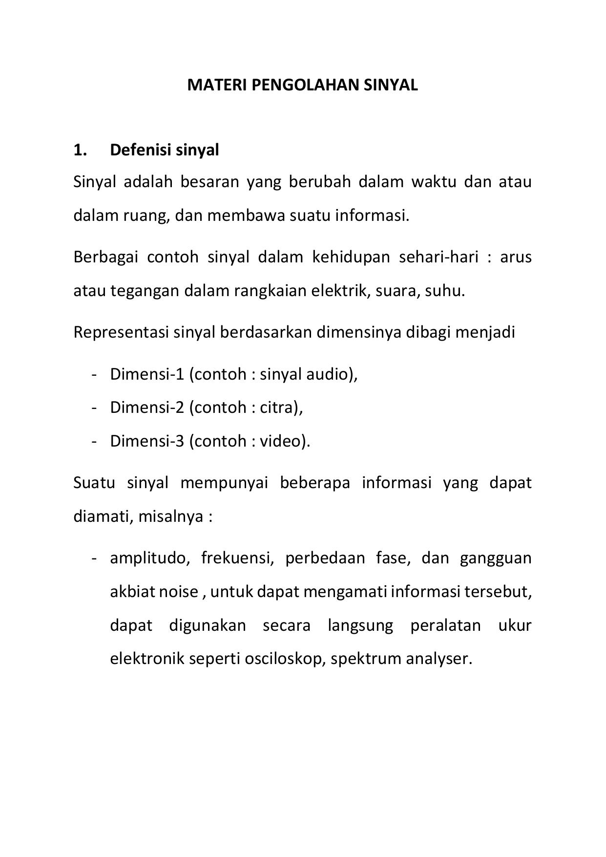 Definisi Dan Pengolahan Sinyal Digital