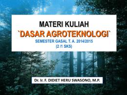 dasar dasar agronomi mkk 312/3 sks (2-1)