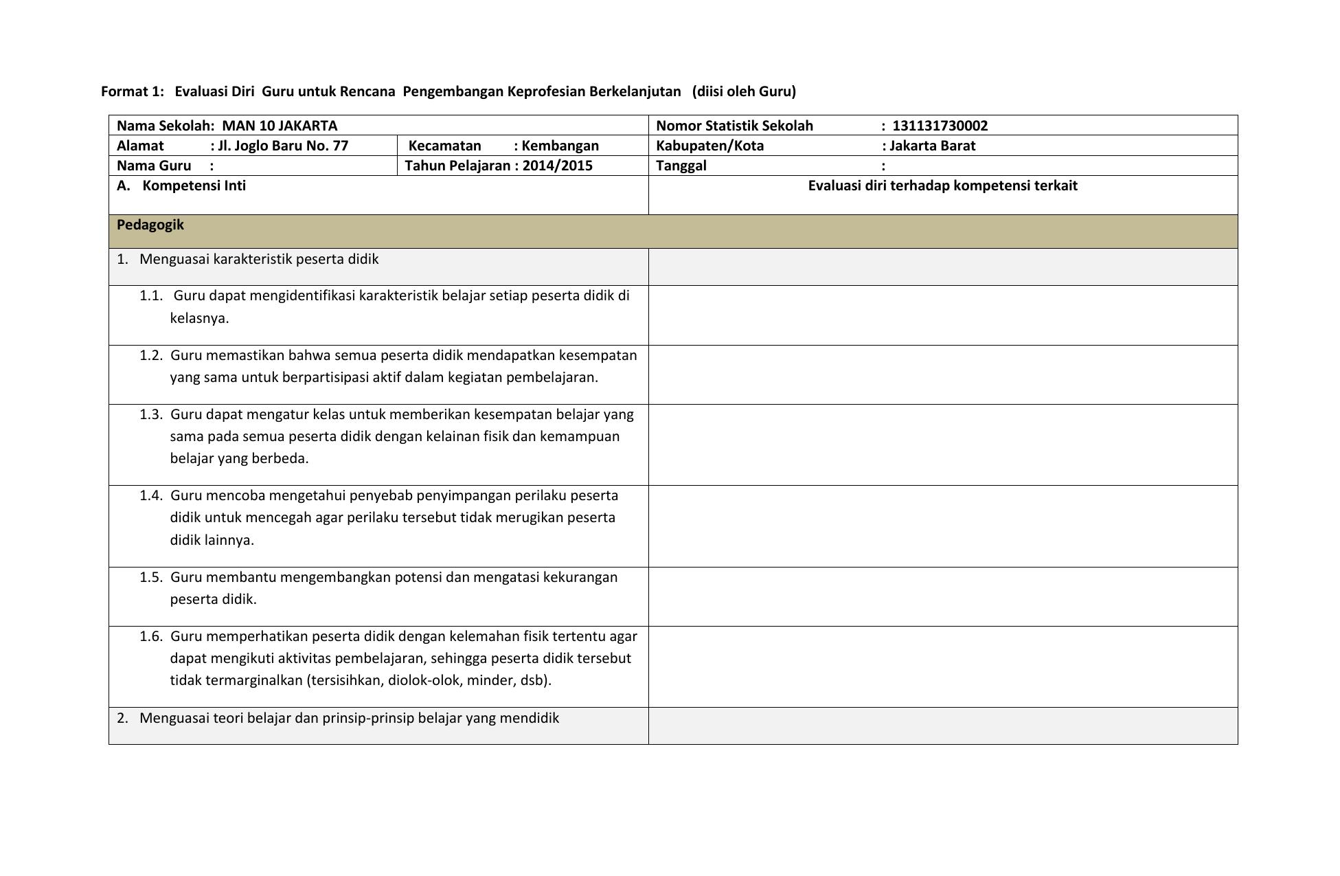 Format 1 Evaluasi Diri Guru Untuk Rencana Pengembangan