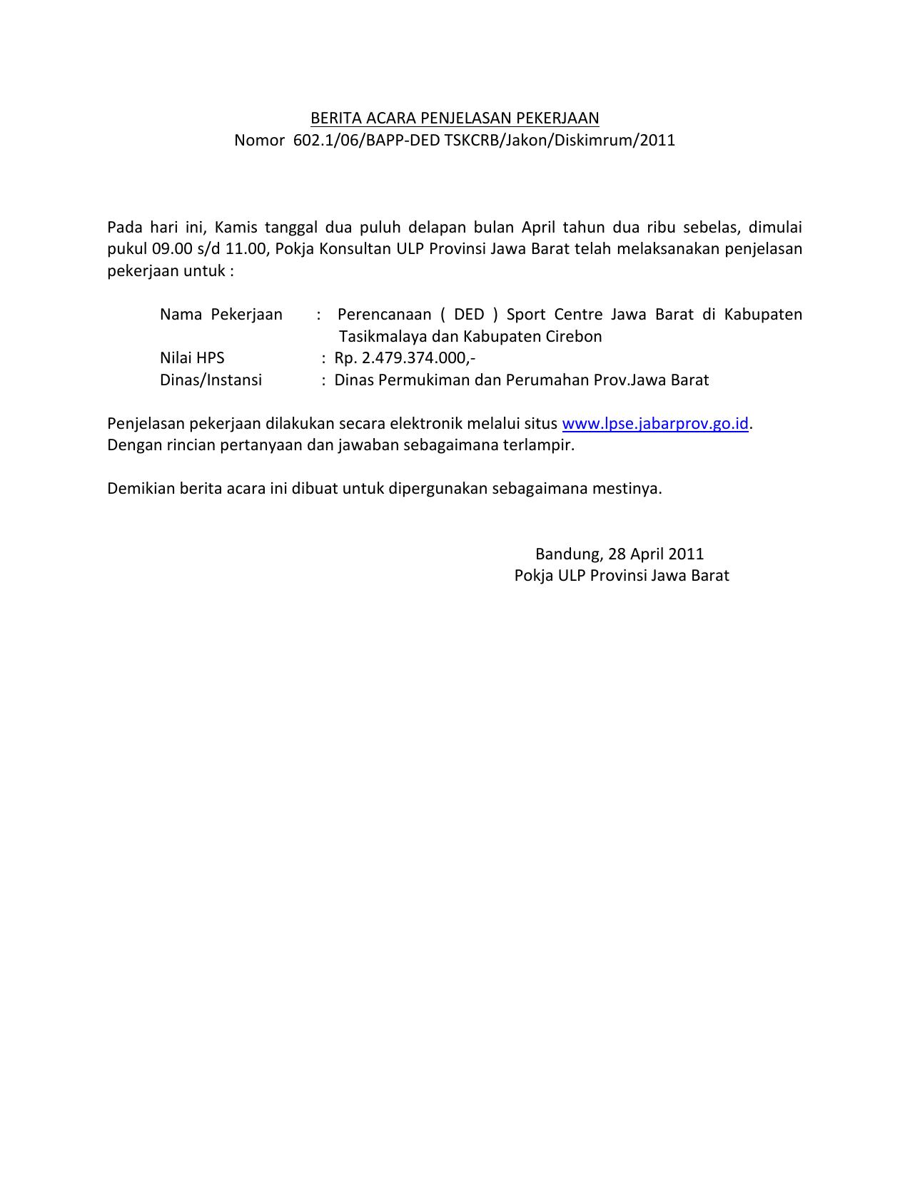Berita Acara Penjelasan Pekerjaan Nomor 602 1 06 Bapp