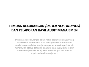 TEMUAN KEKURANGAN (DEFICIENCY FINDINGS) DAN