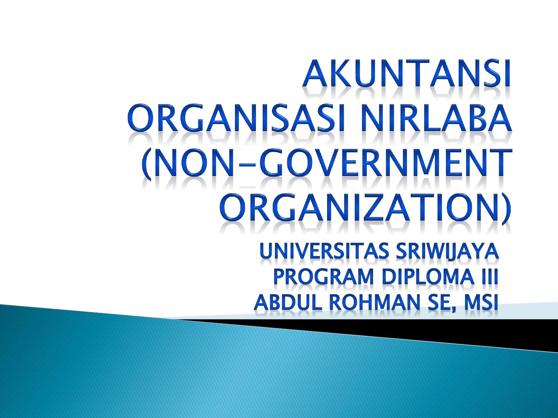 Pengantar Akuntansi Organisasi Nirlaba