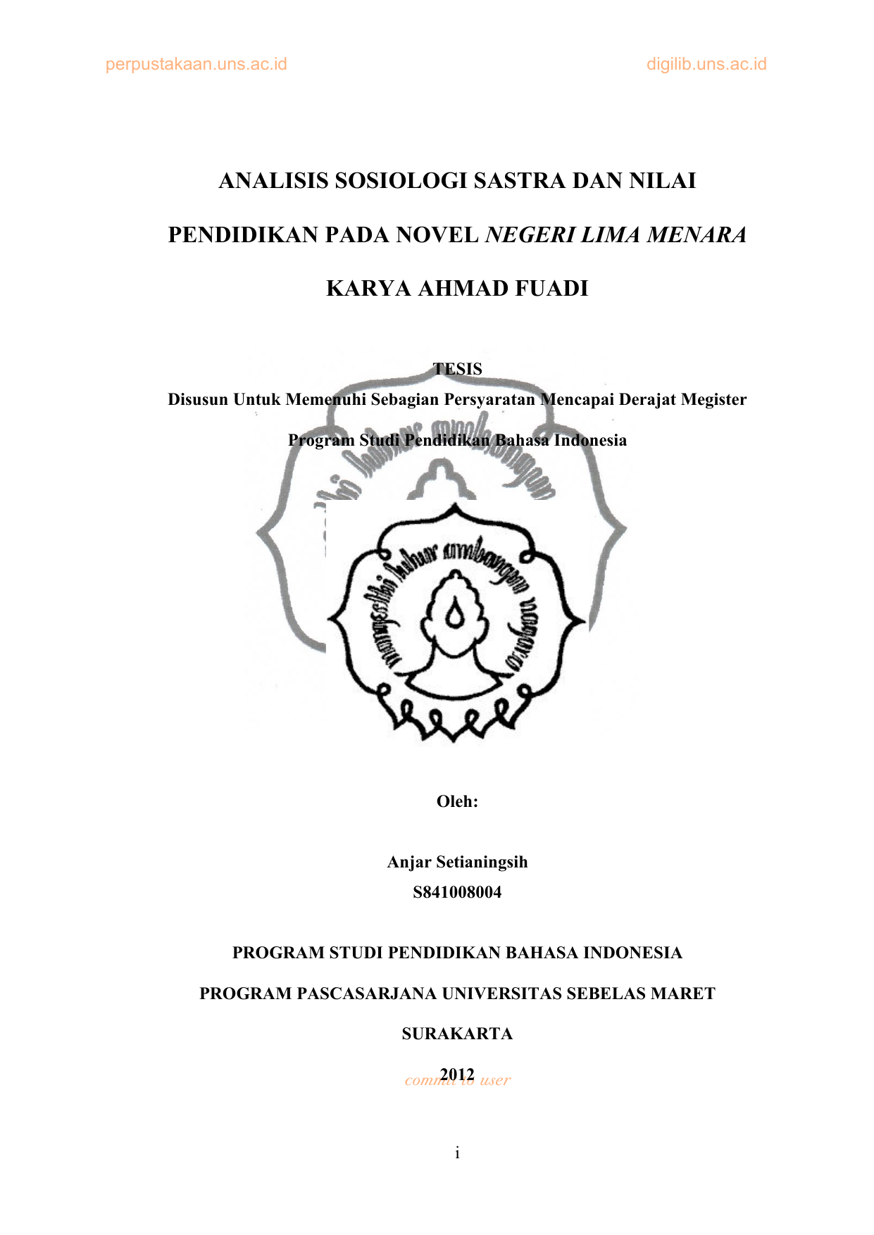 Analisis Sosiologi Sastra Dan Nilai Pendidikan Pada Novel Negeri