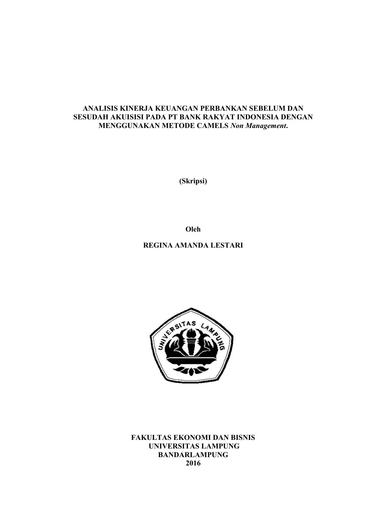 Analisis Kinerja Keuangan Perbankan Sebelum Dan Sesudah Akuisisi