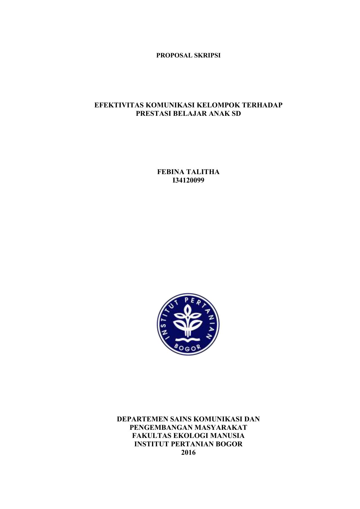 Proposal Skripsi Efektivitas Komunikasi Kelompok