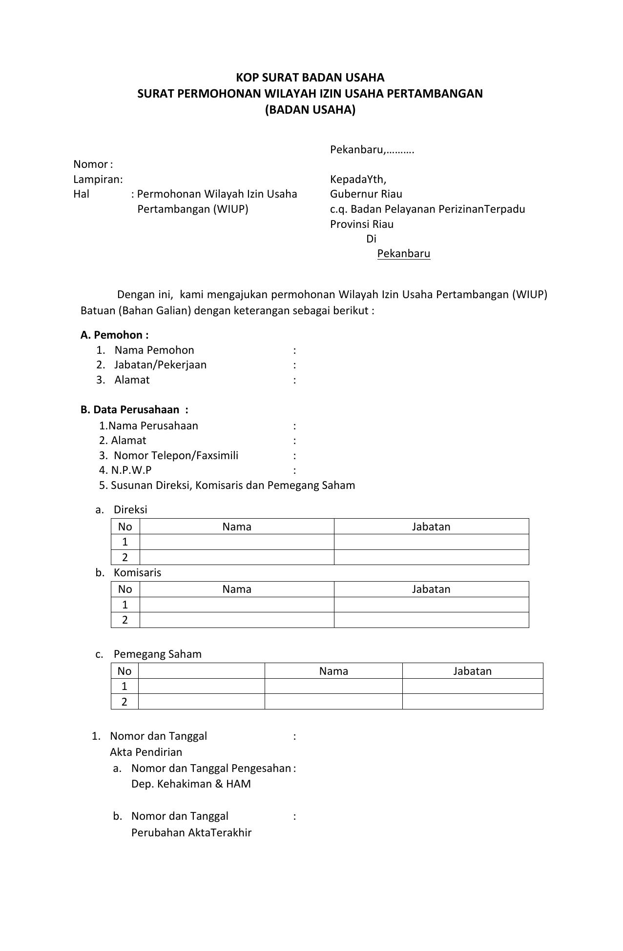 Surat Permohonan Wilayah Izin Usaha Pertambangan Perseorangan