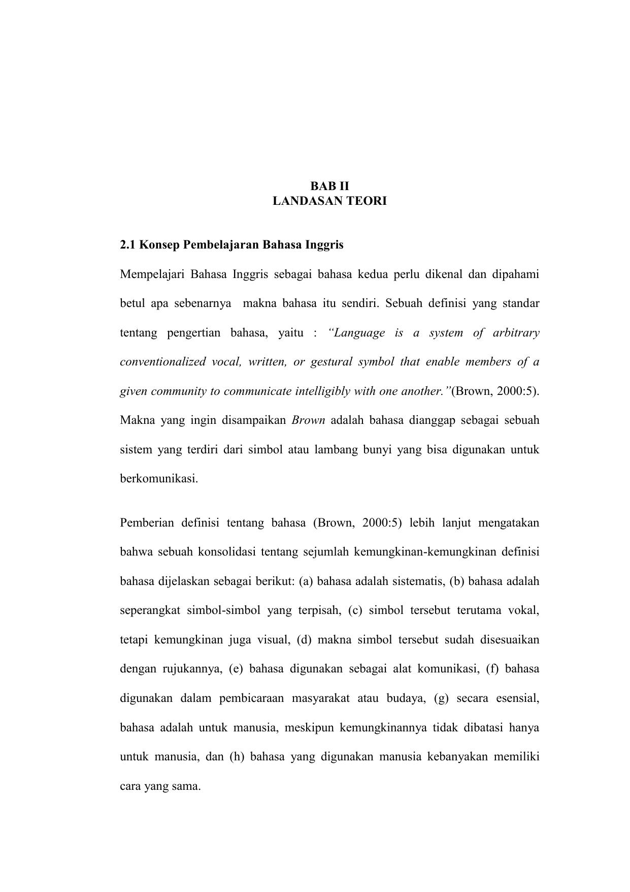 Bab Ii Landasan Teori 2 1 Konsep Pembelajaran Bahasa Inggris