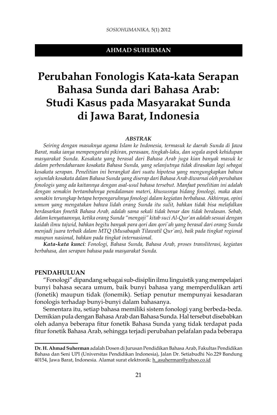 Perubahan Fonologis Kata Kata Serapan Bahasa Sunda Dari