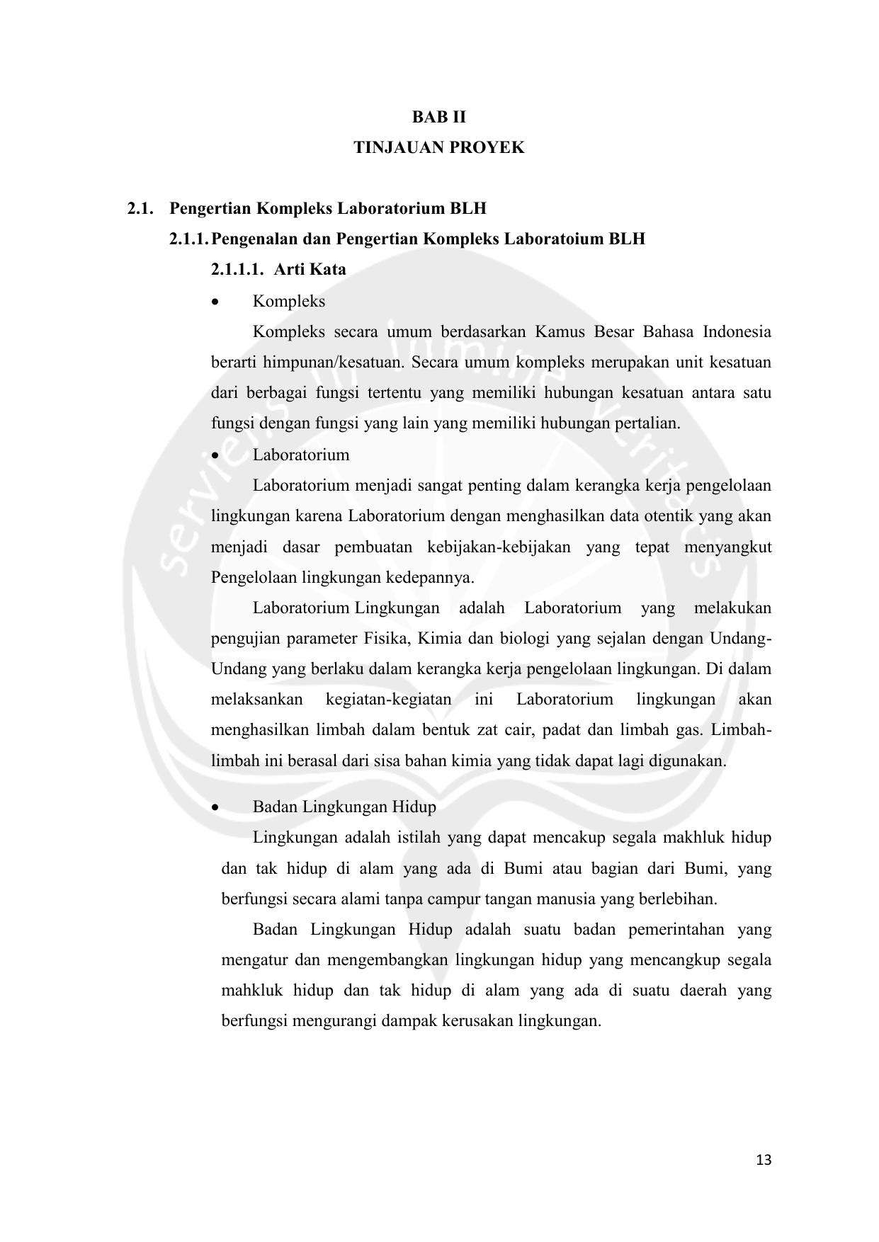 Bab Ii Tinjauan Proyek 2 1 Pengertian Kompleks Laboratorium