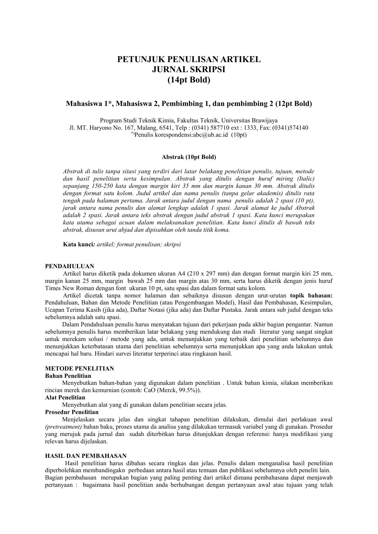 Template Dan Petunjuk Penulisan Artikel Jurnal Mahasiswa
