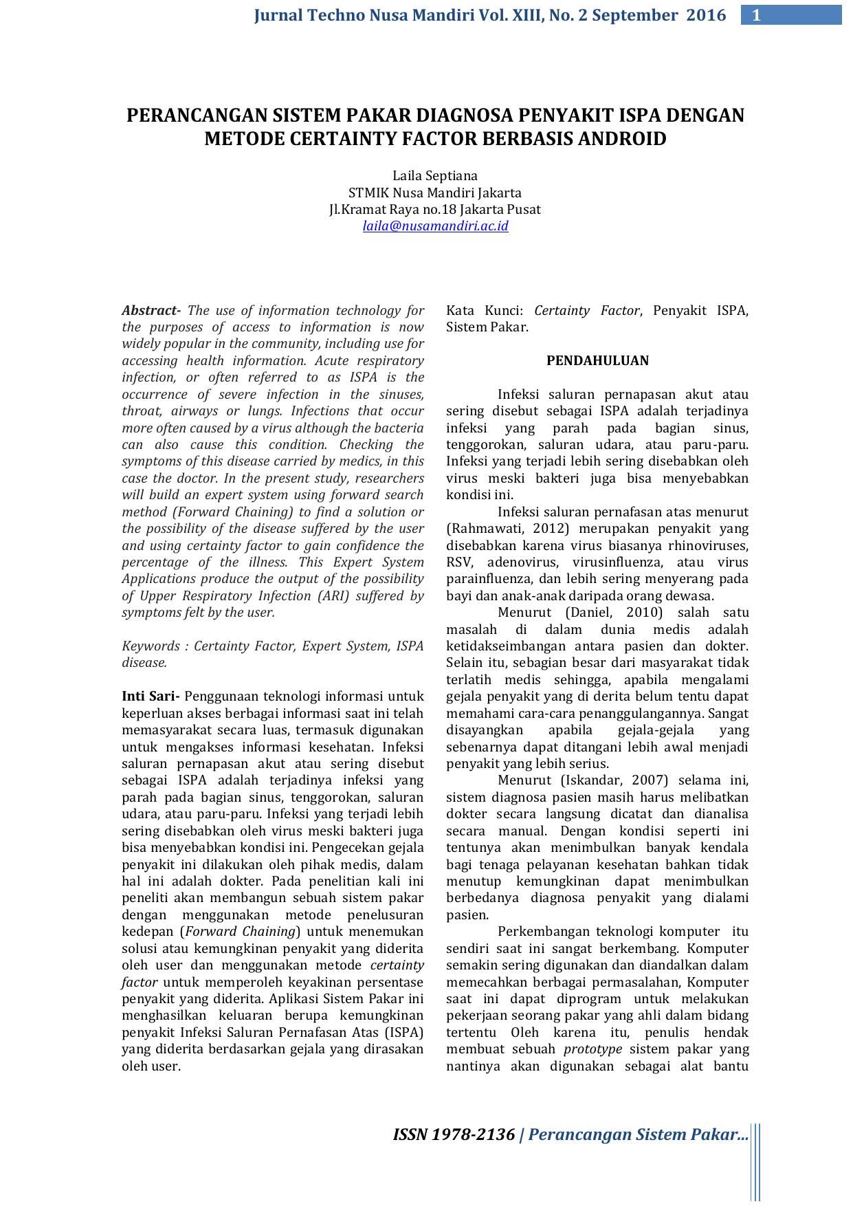 Perancangan Sistem Pakar Diagnosa Penyakit Ispa E