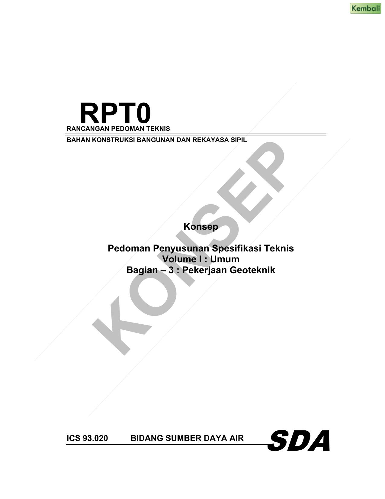 Konsep Pedoman Penyusunan Spesifikasi Teknis Volume I Umum