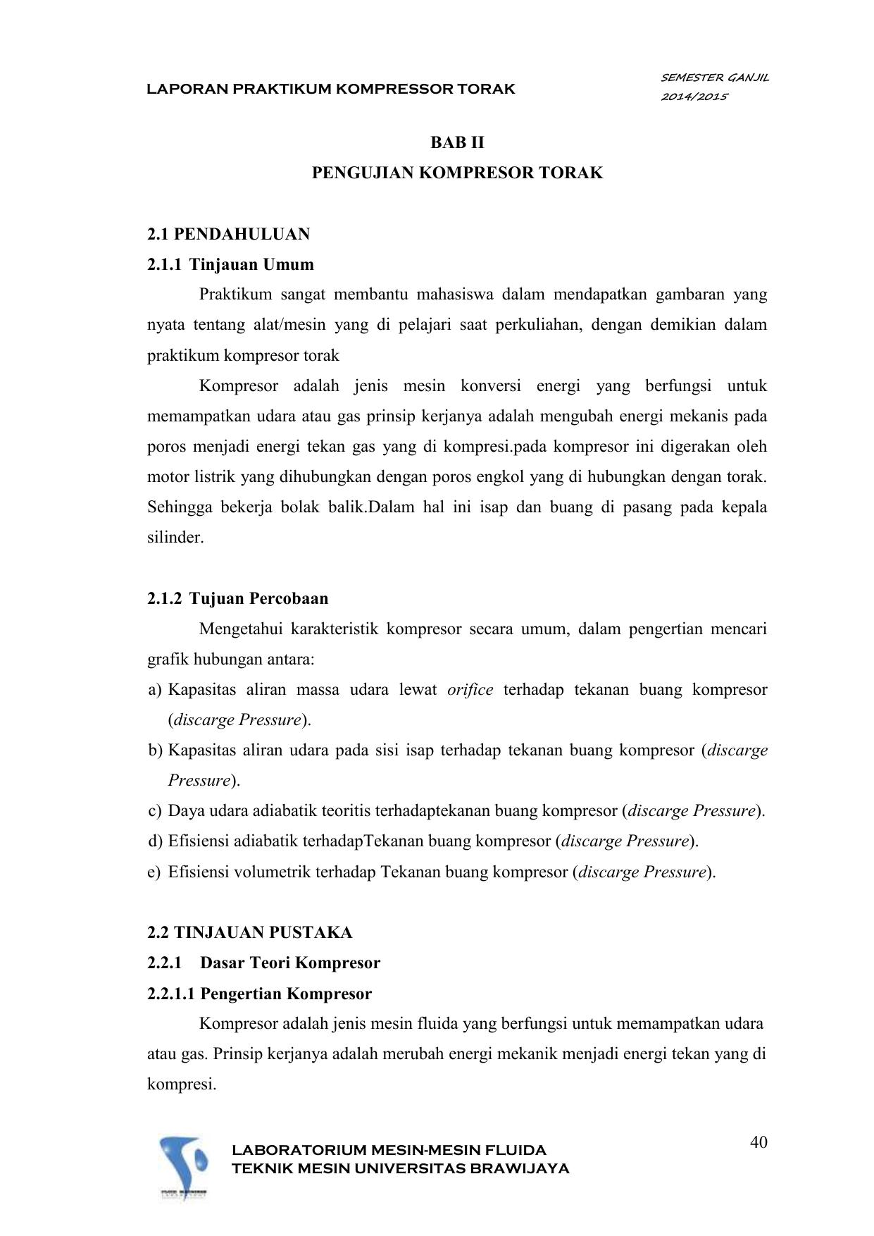 Laporan Praktikum Kompressor Torak Semester