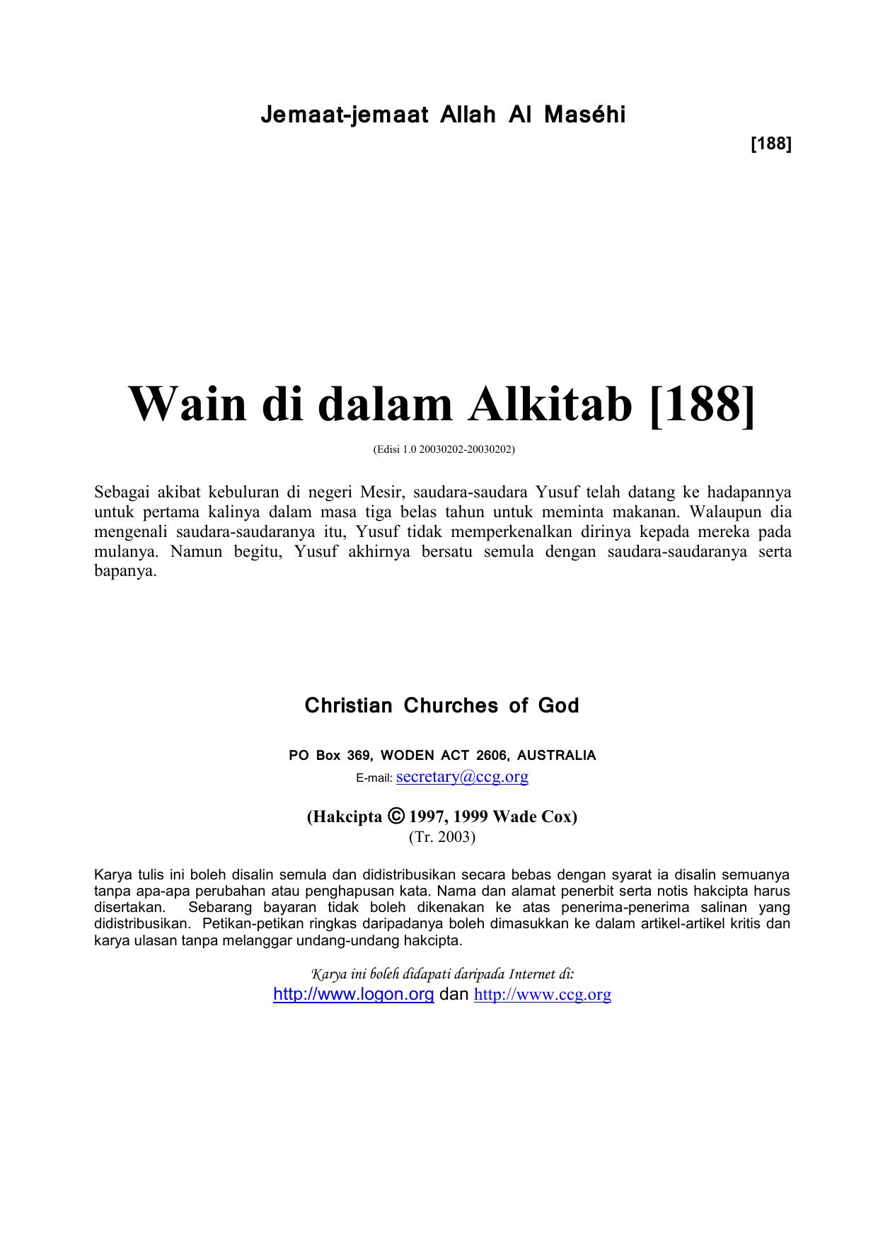 Wain Di Dalam Alkitab 188 Jemaat