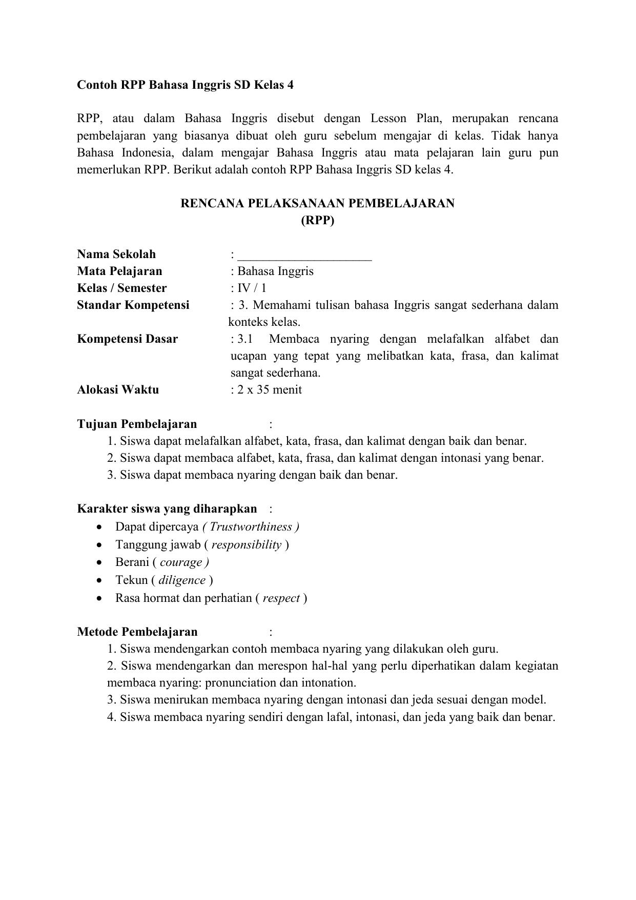 Contoh Rpp Bahasa Inggris Sd Kelas 4