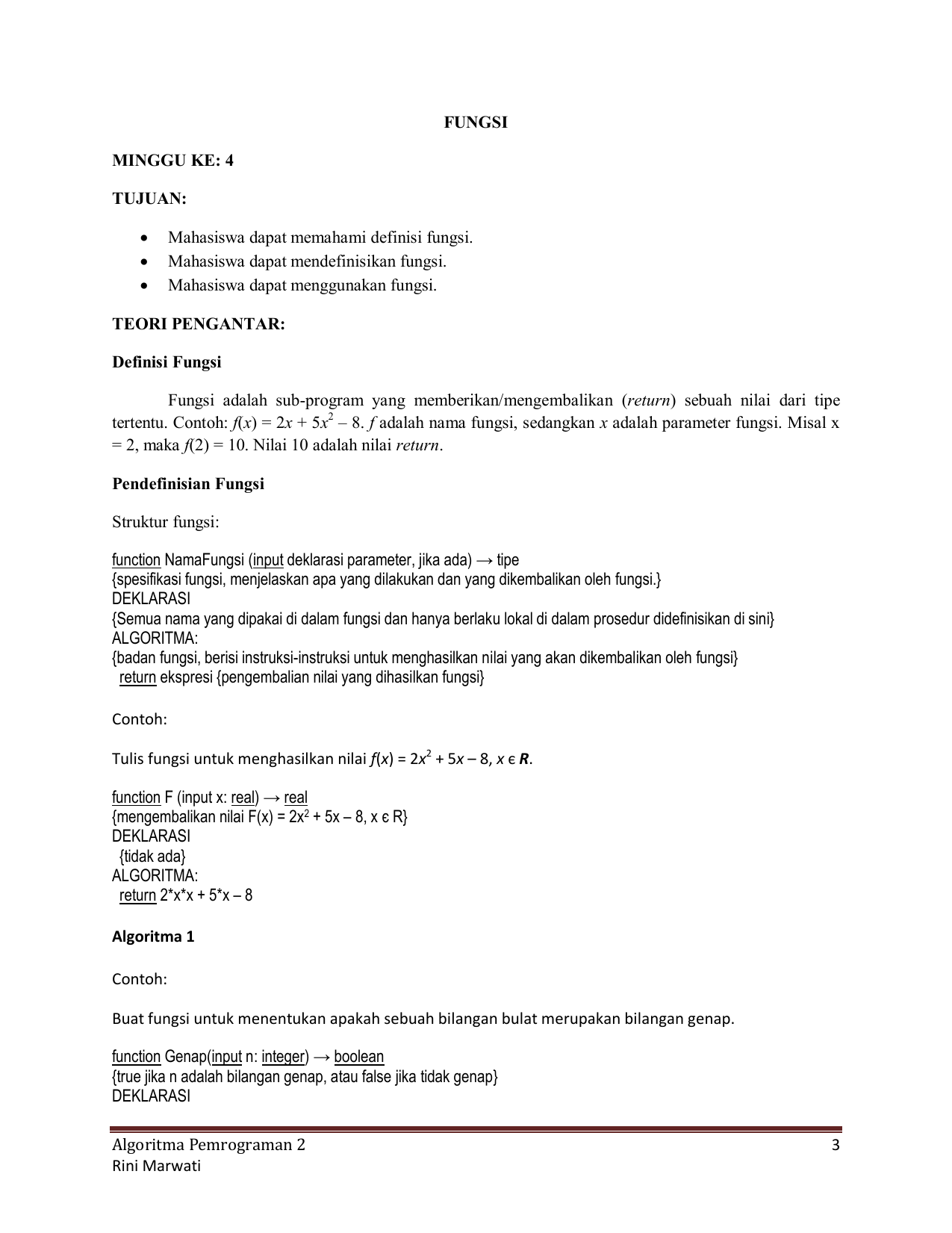 Algoritma Pemrograman 2 3 Rini Marwati Fungsi