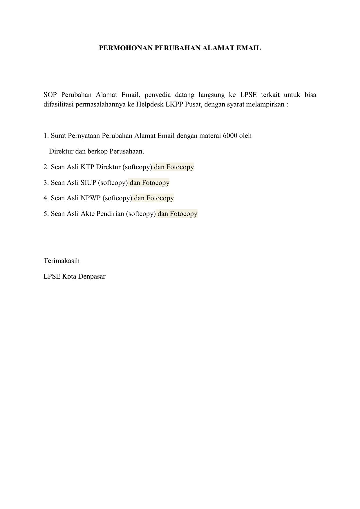 Surat Pengajuan Perubahan Alamat Email