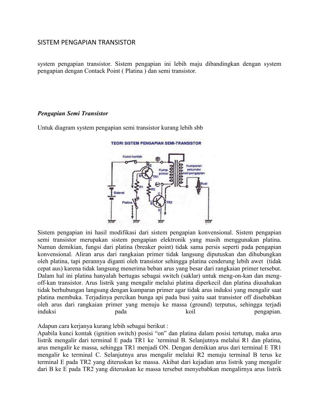Sistem Pengapian Transistor System Pengapian Transistor