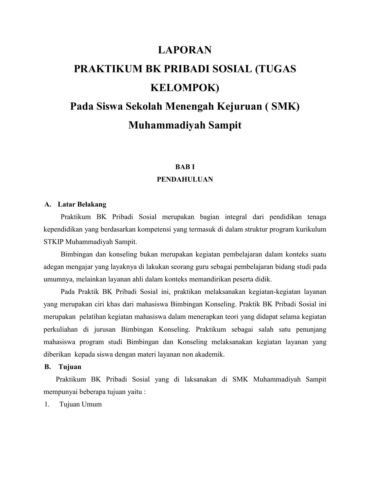 Laporan Praktikum Bk Pribadi Sosial Tugas Kelompok
