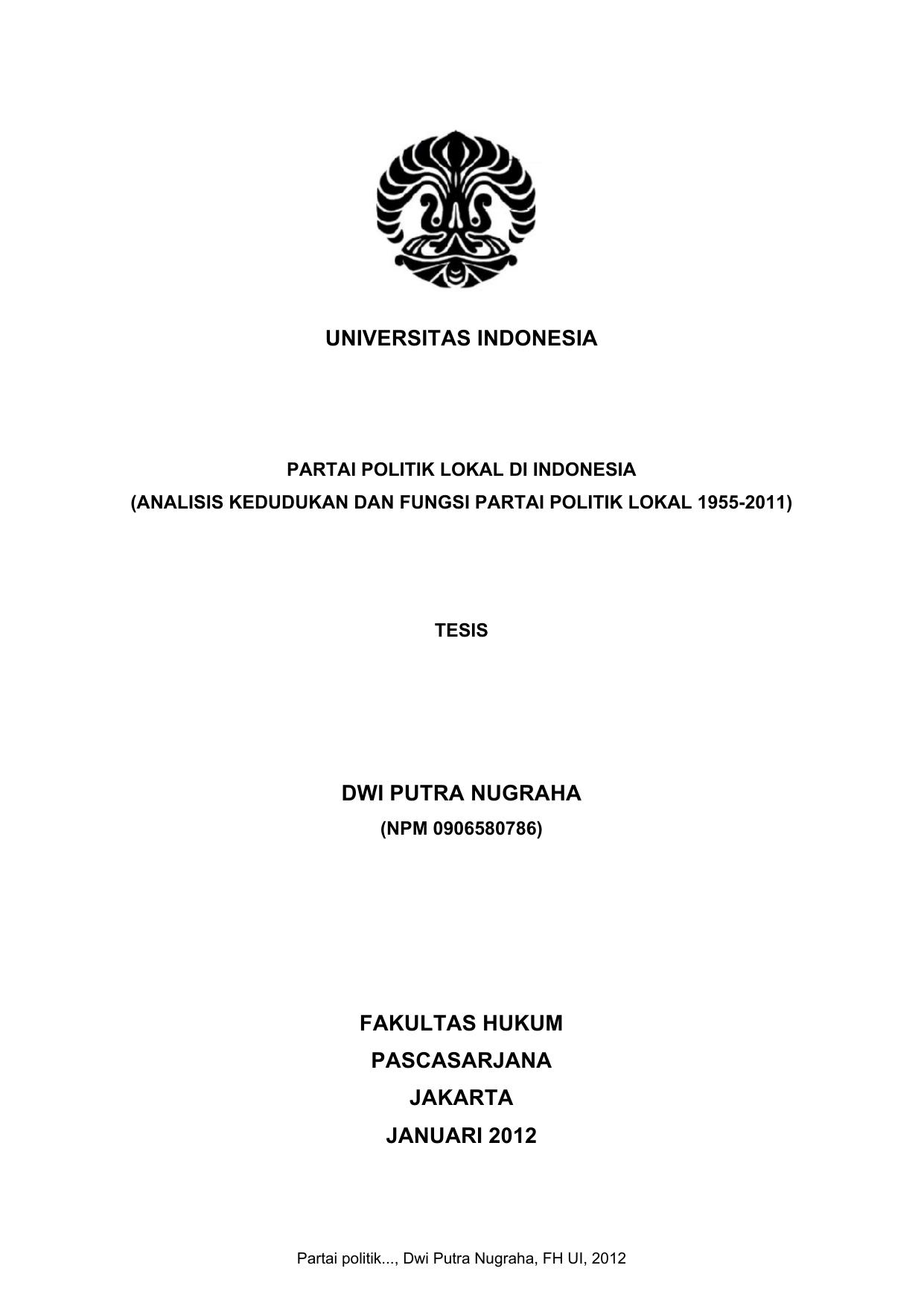 Partai Politik Perpustakaan Universitas Indonesia