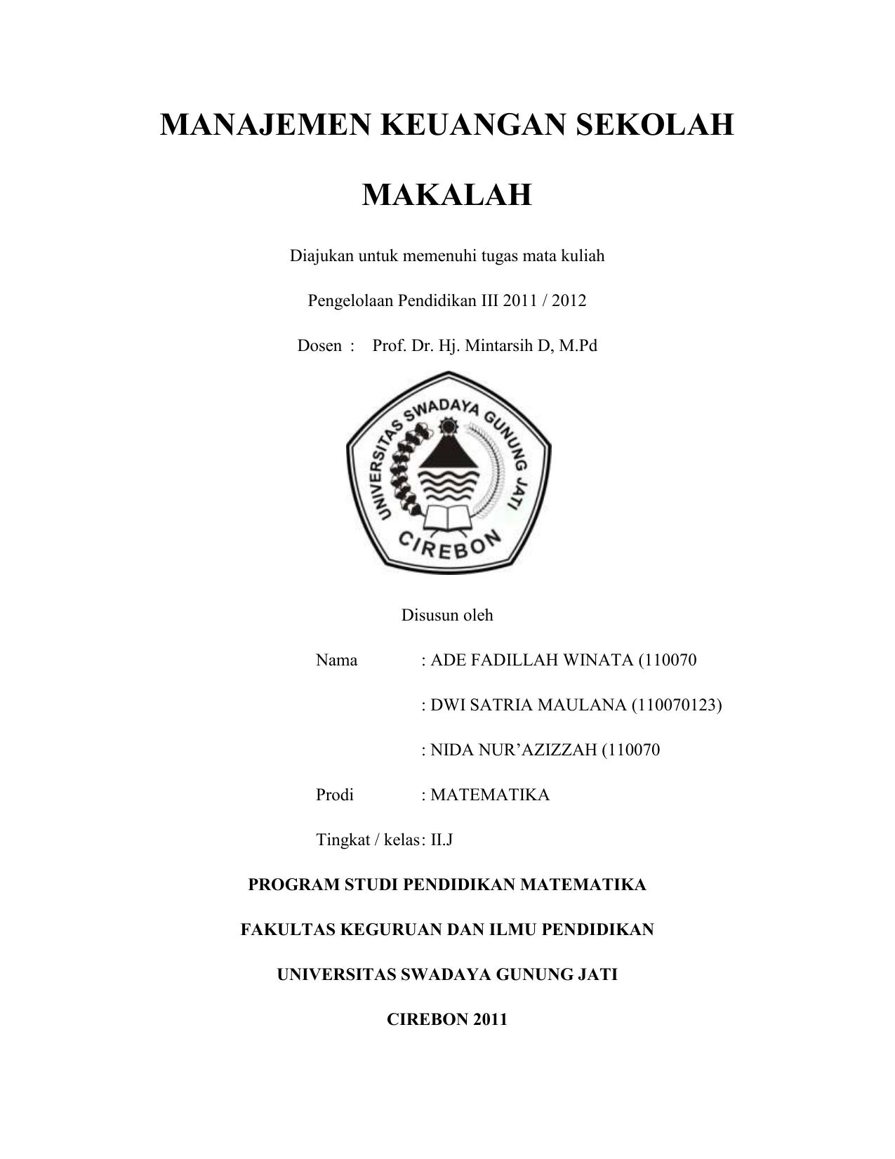 Manajemen Keuangan Sekolah Makalah