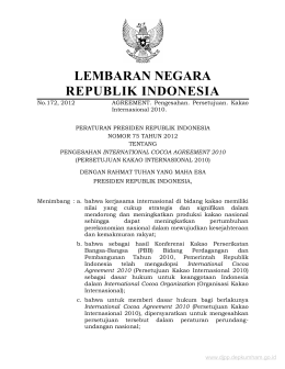Pengesahan International Cocoa Agreement 2010