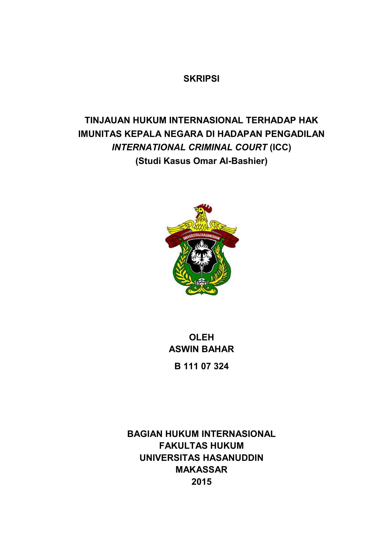Skripsi Tinjauan Hukum Internasional Terhadap Hak Imunitas Kepala