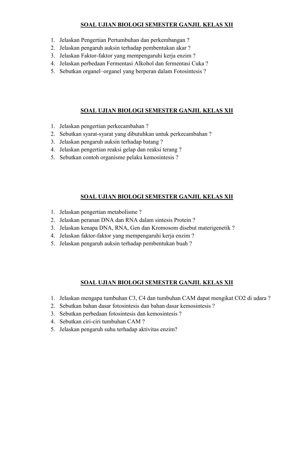 Soal Ujian Biologi Semester Ganjil Kelas Xii