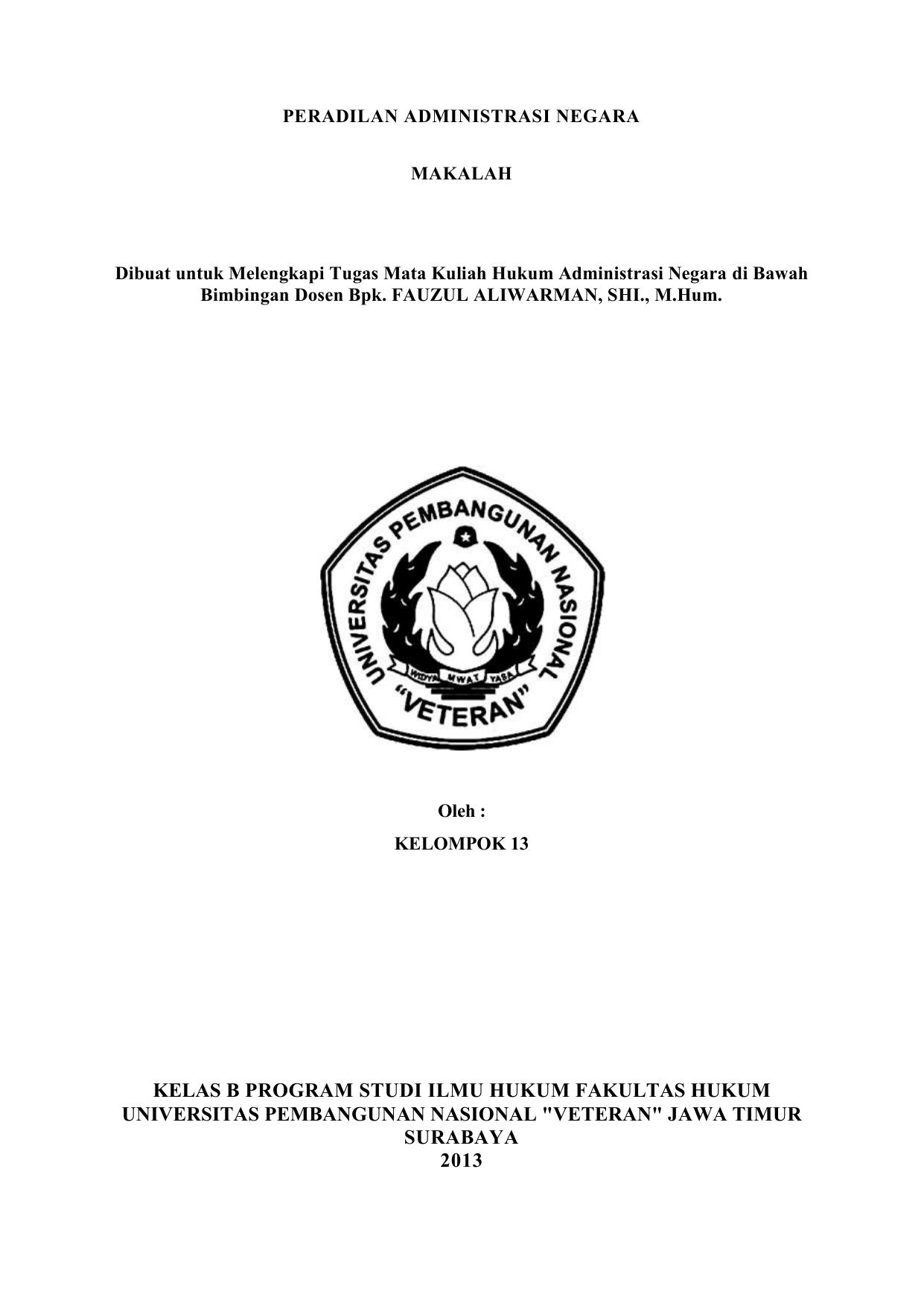 Peradilan Administrasi Negara Makalah Dibuat Untuk
