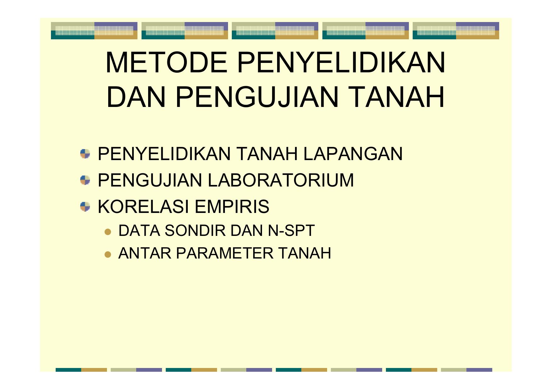 Metode Penyelidikan Dan Pengujian Tanah