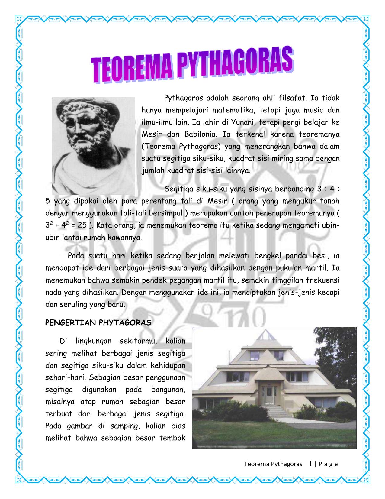 Teorema Pythagoras Pythagoras Adalah Seorang Ahli Filsafat