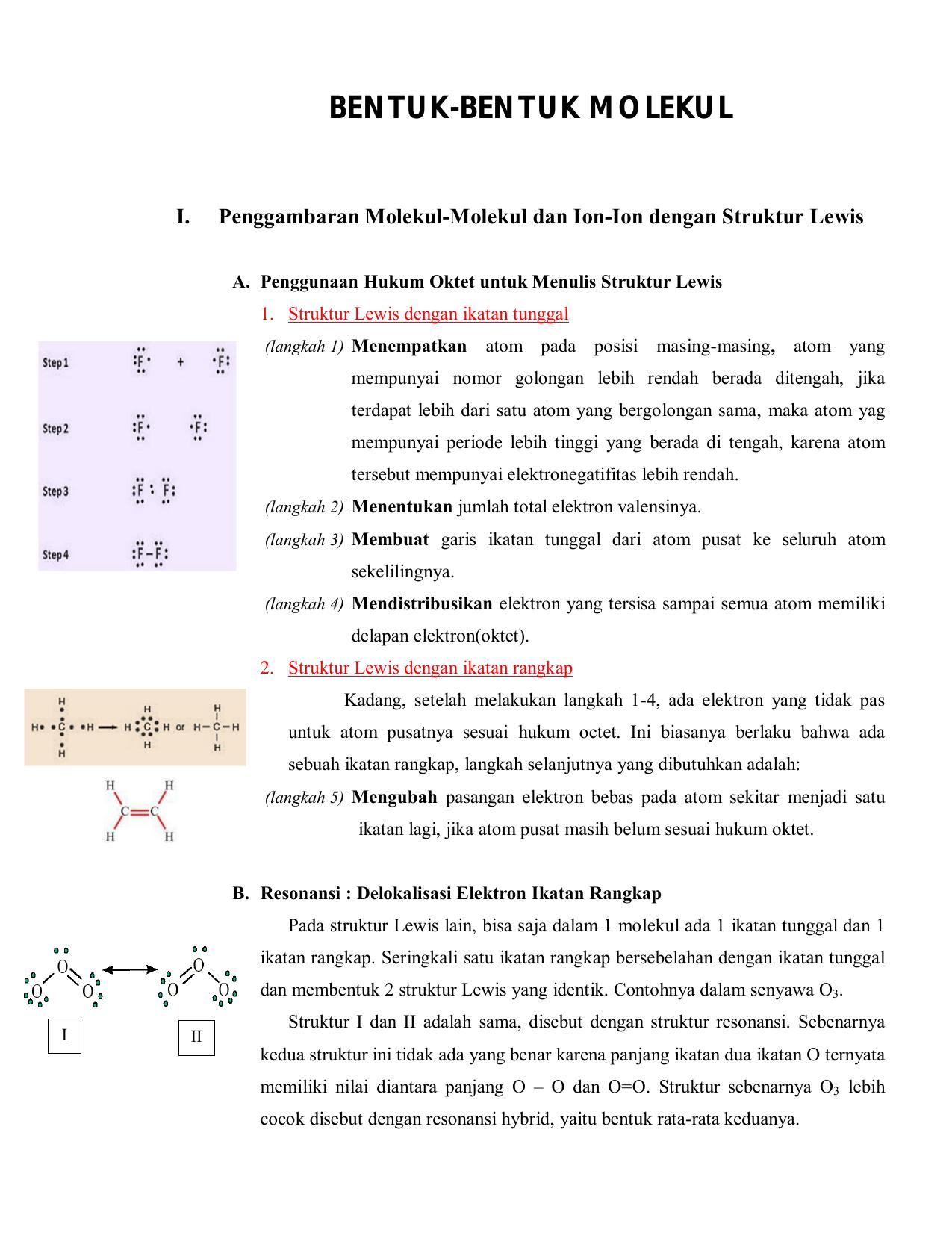 Bentuk Bentuk Molekul Teknik Kimia Undip