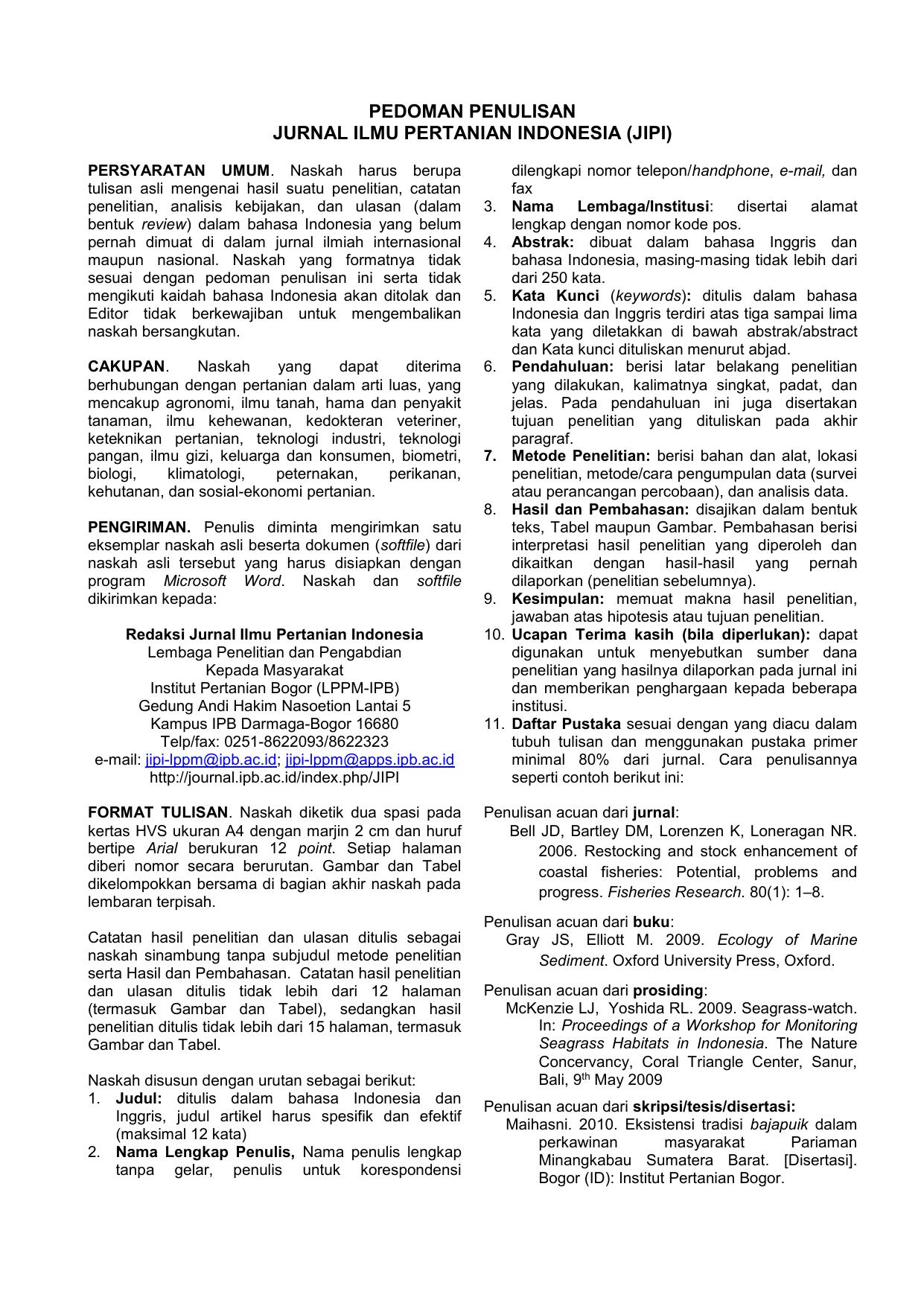 Pedoman Penulisan Jurnal Ilmu Pertanian Indonesia Jipi