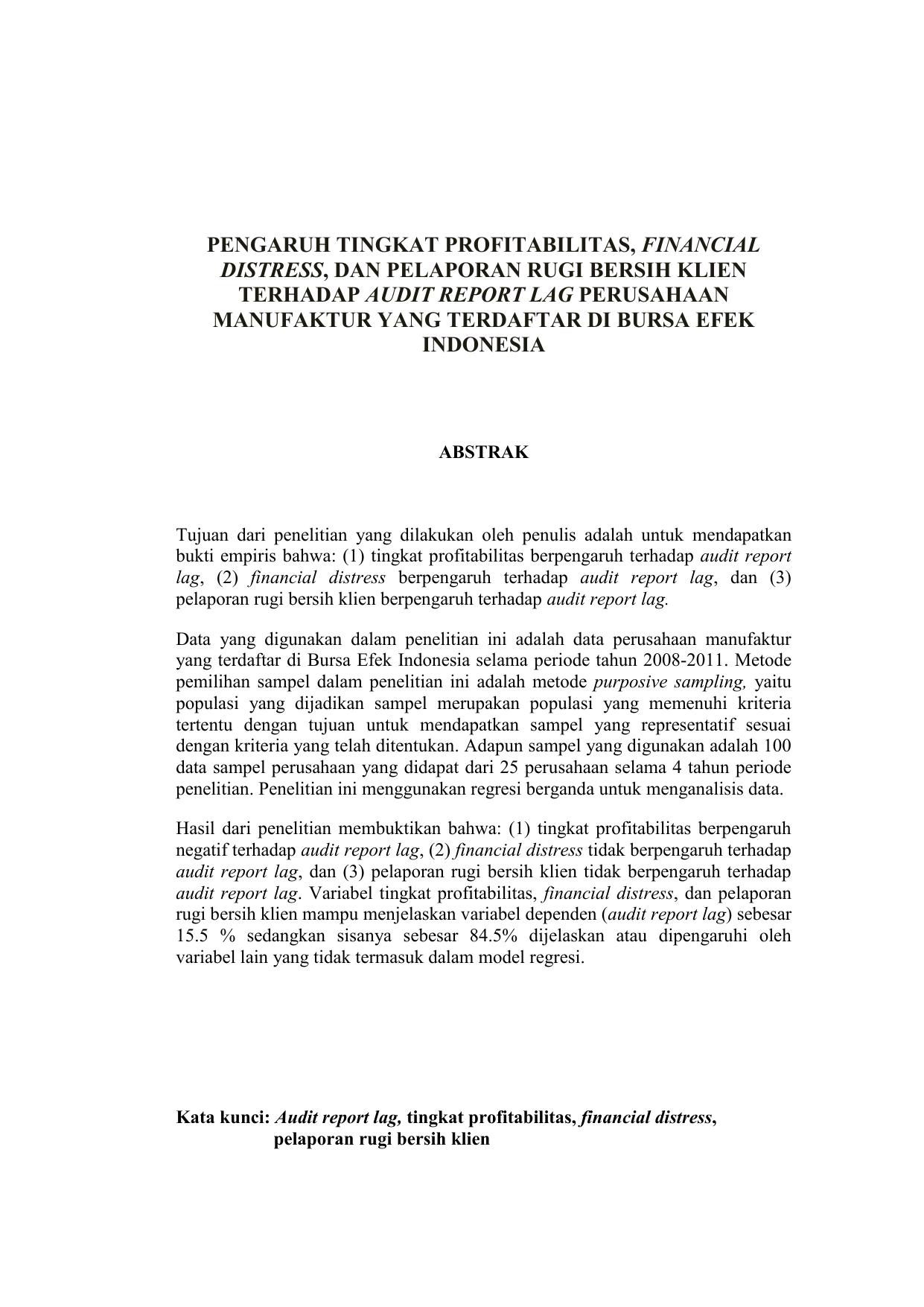 Pengaruh Tingkat Profitabilitas Financial Distress Dan Pelaporan Rugi
