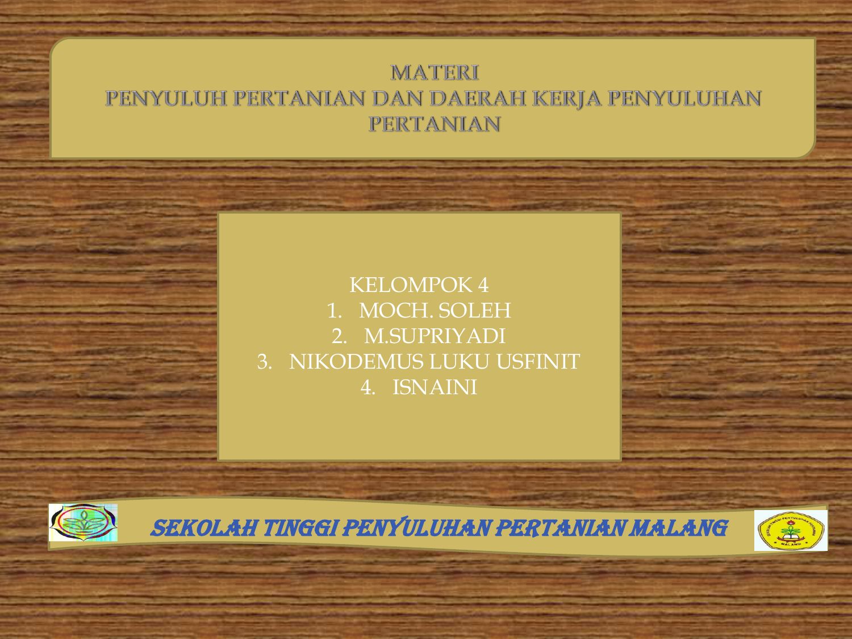 Materi Penyuluh Pertanian Dan Daerah Kerja