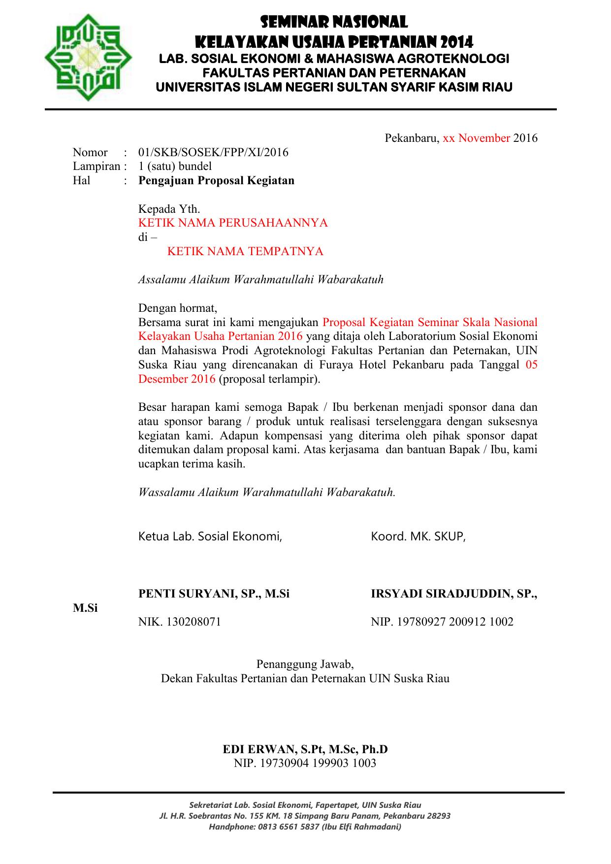 Proposal Prodi Agroteknologi Fapertapet Uin Suska Riau