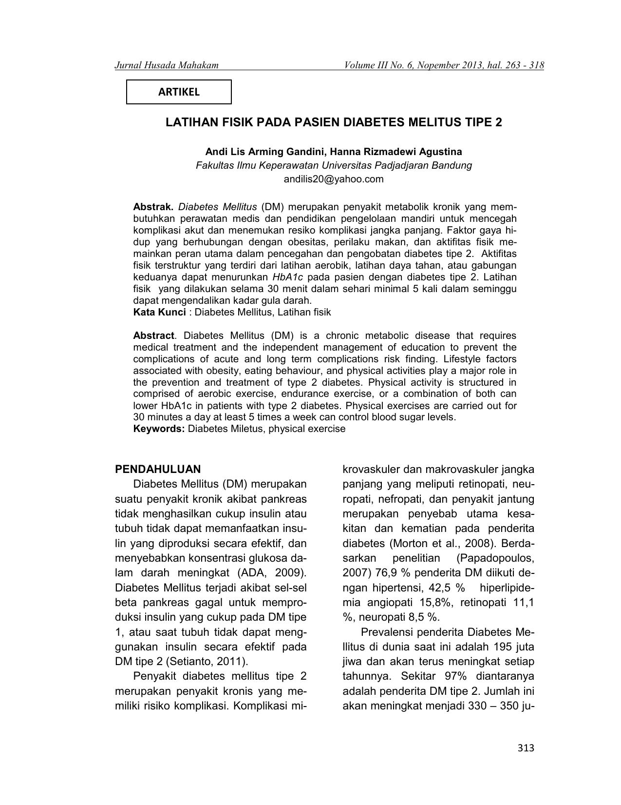 Latihan Fisik Pada Pasien Diabetes Melitus Tipe 2 Artikel