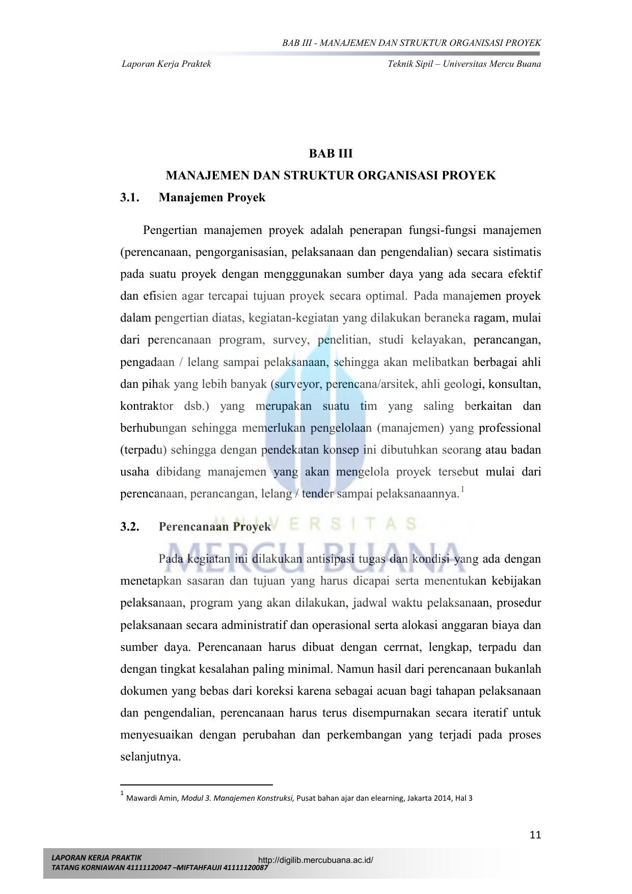 Bab Iii Manajemen Dan Struktur Organisasi Proyek 3 1