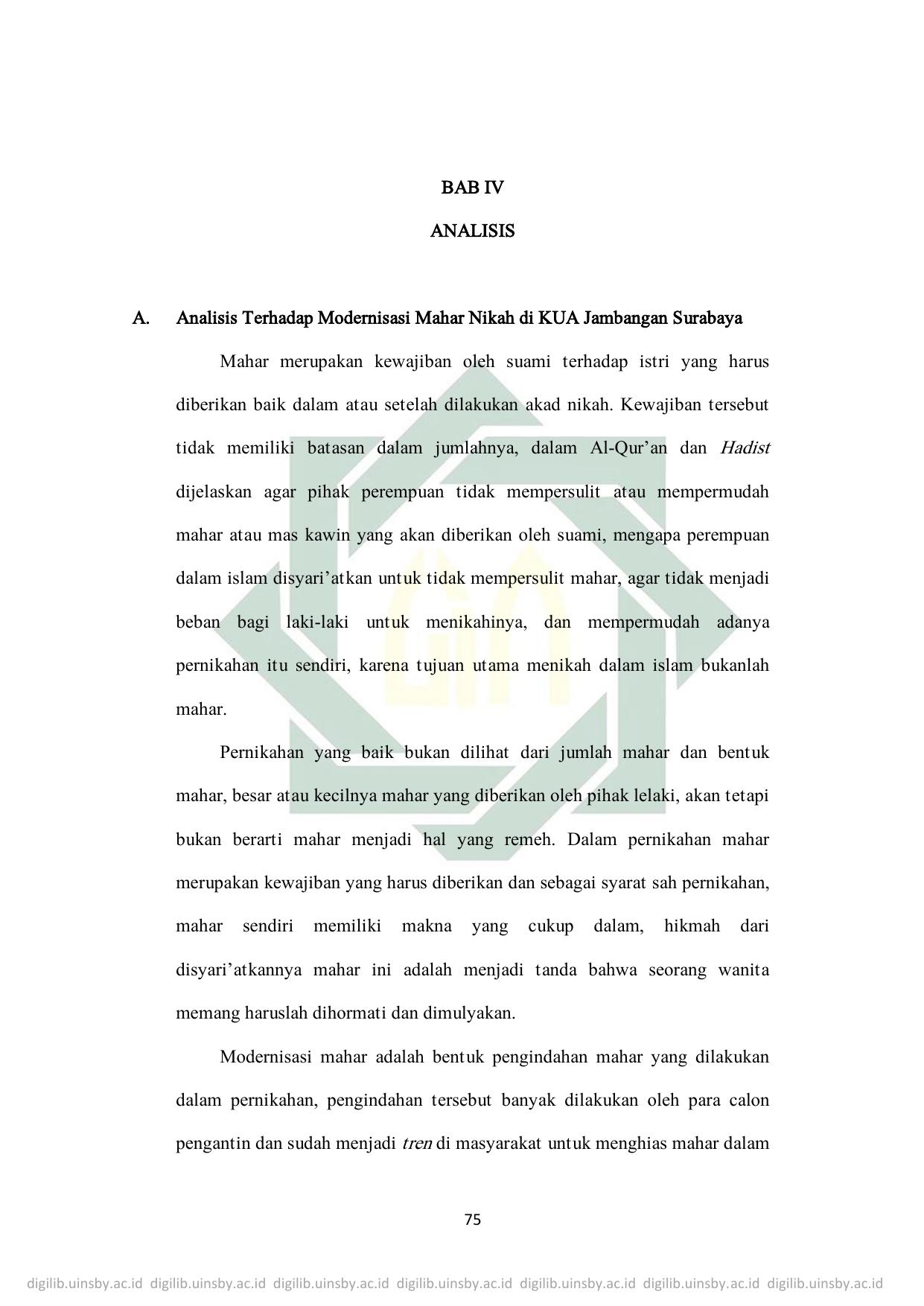 BAB IV ANALISIS A. Analisis Terhadap Modernisasi Mahar Nikah di 8ccd4eb9cf