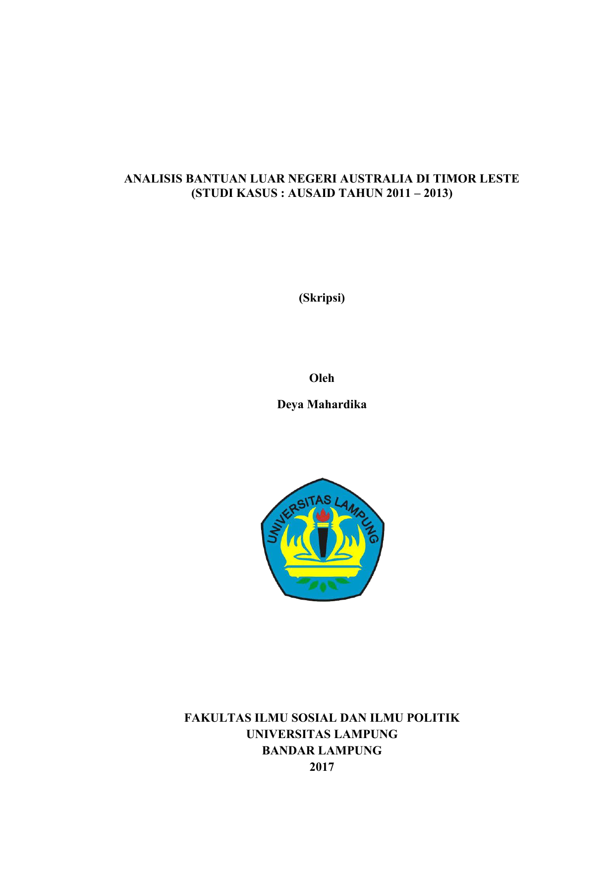 Analisis Bantuan Luar Negeri Australia Di Timor Leste