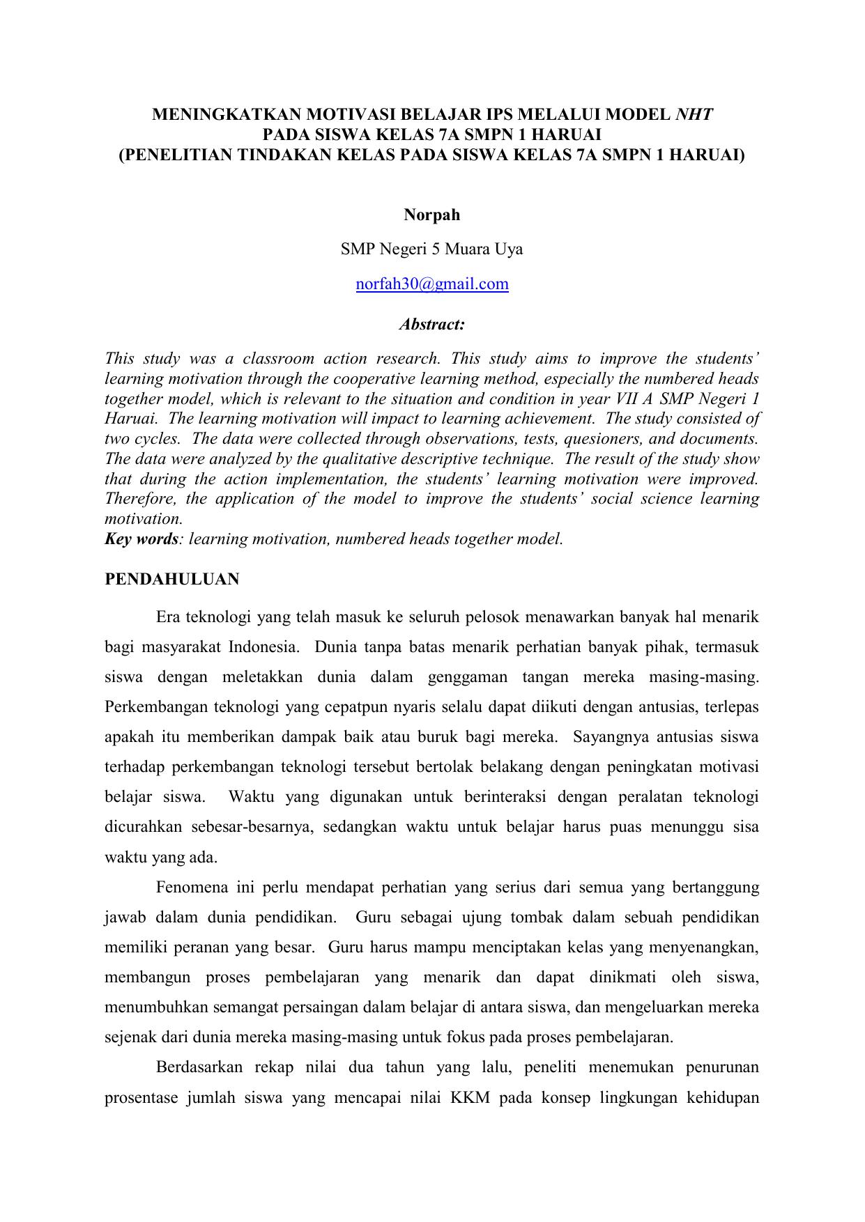 Meningkatkan Motivasi Belajar Ips Melalui Model Nht