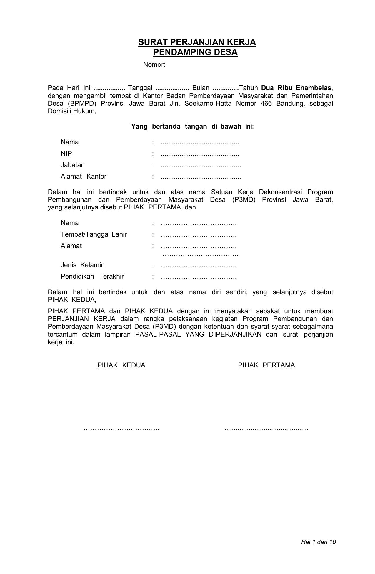 Surat Perjanjian Kerja Pendamping Desa Dpm