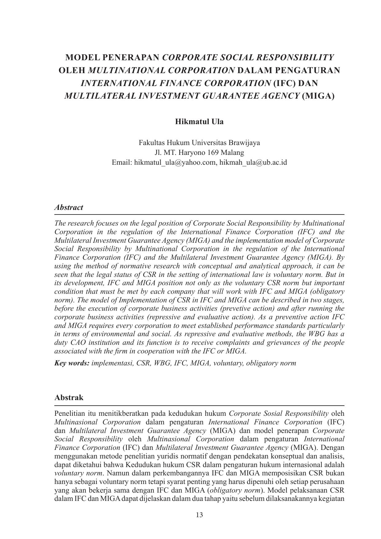 Model Penerapan Corporate Social Responsibility Oleh