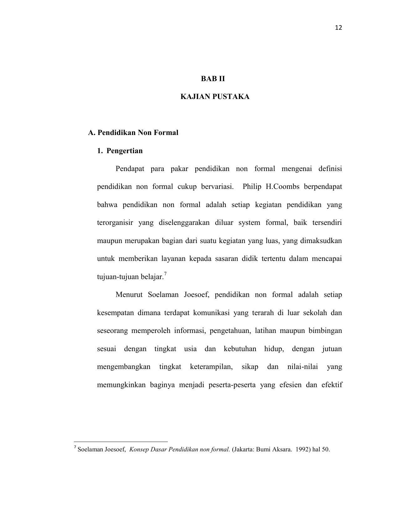 Bab Ii Kajian Pustaka A Pendidikan Non Formal 1 Pengertian