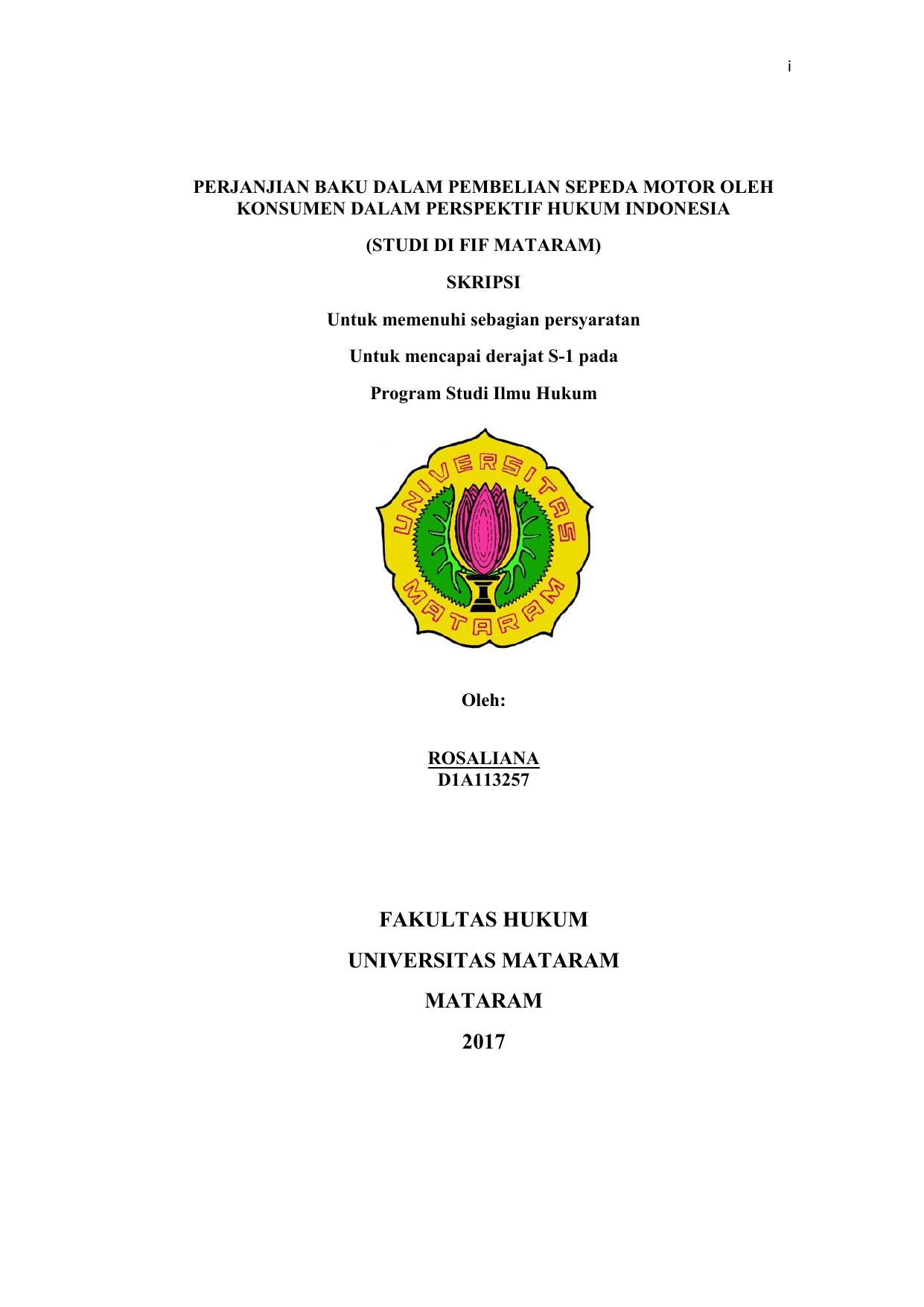 Fakultas Hukum Universitas Mataram Mataram 2017