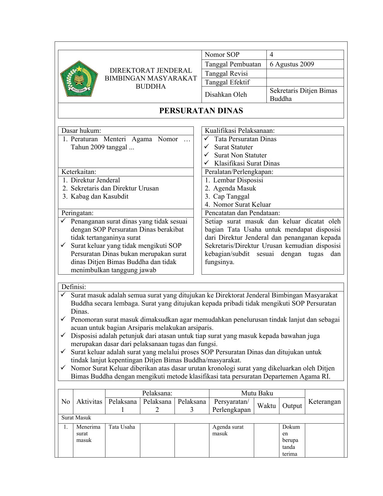 Persuratan Dinas Ditjen Bimas Buddha