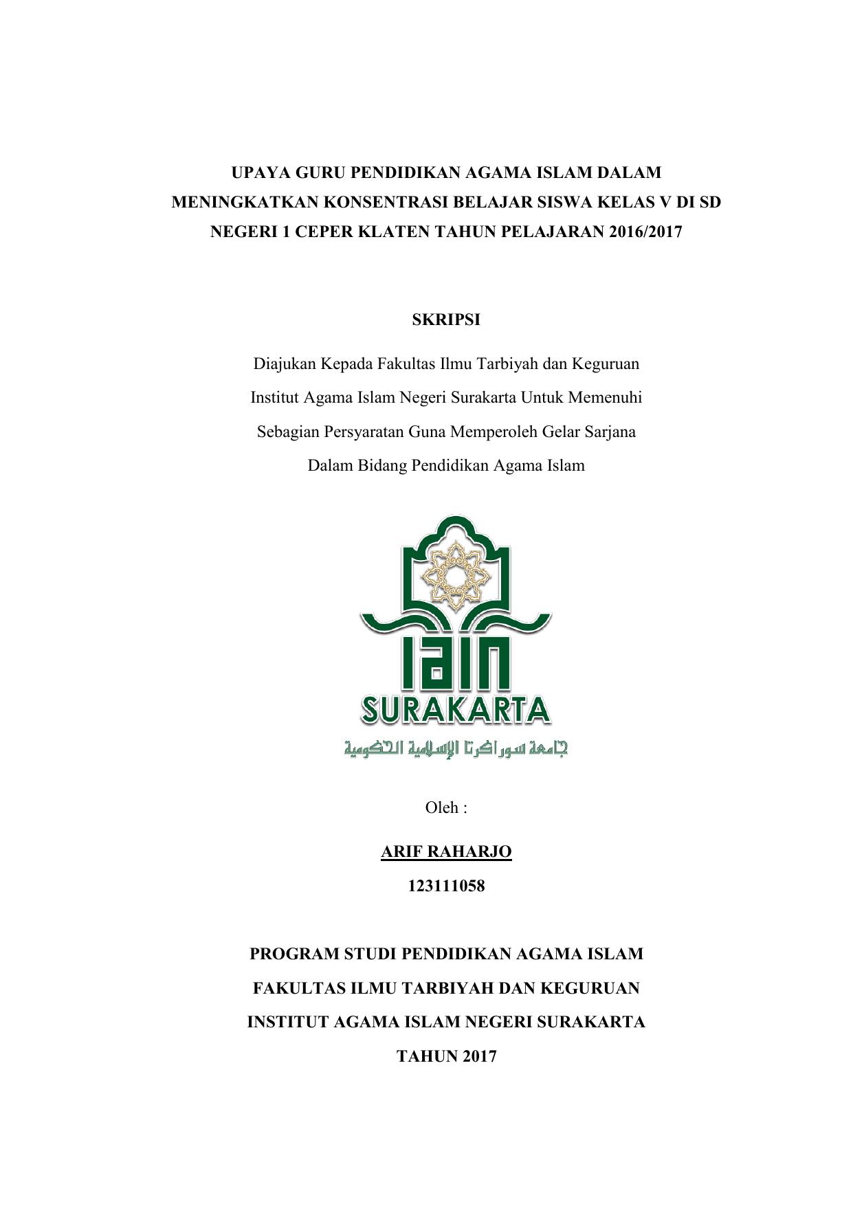 Upaya Guru Pendidikan Agama Islam Dalam Meningkatkan