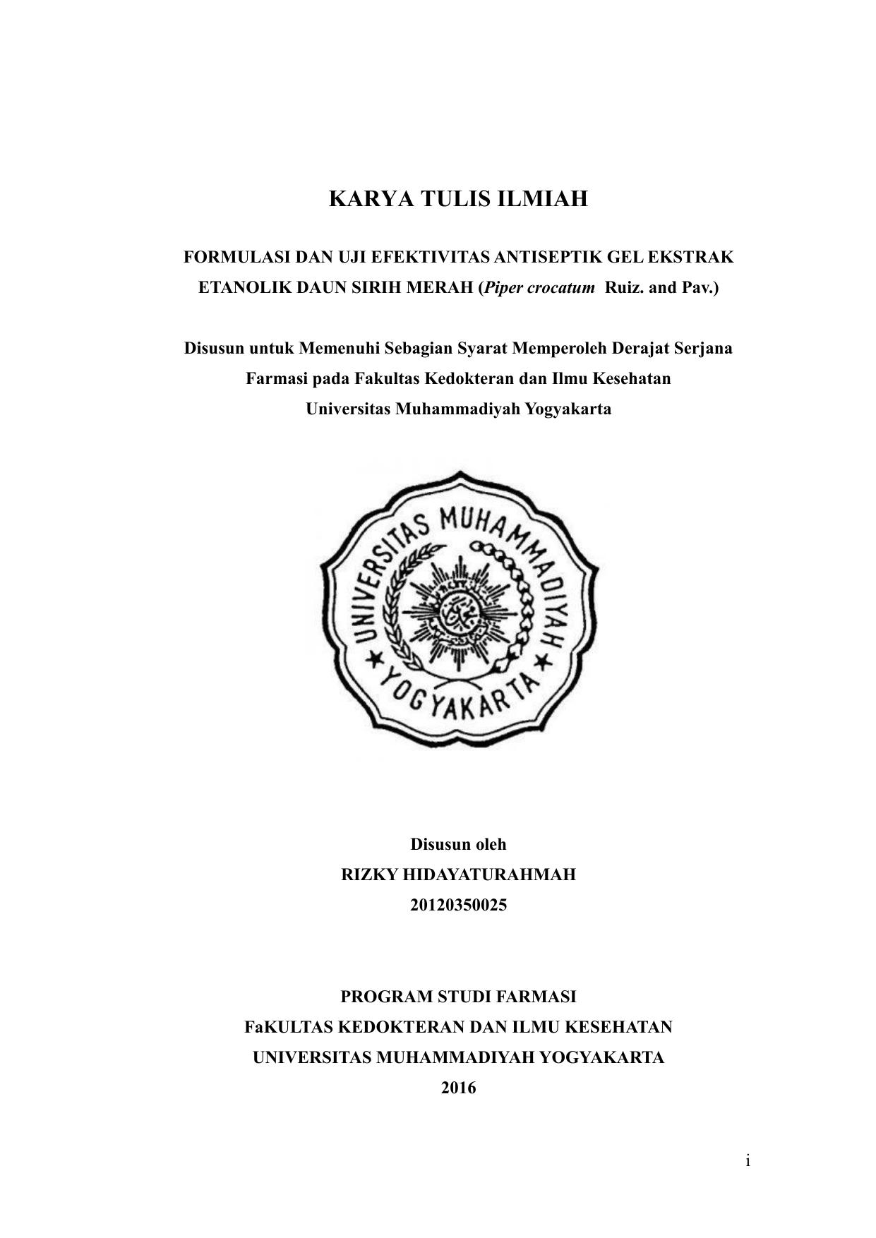 Karya Tulis Ilmiah Umy Repository