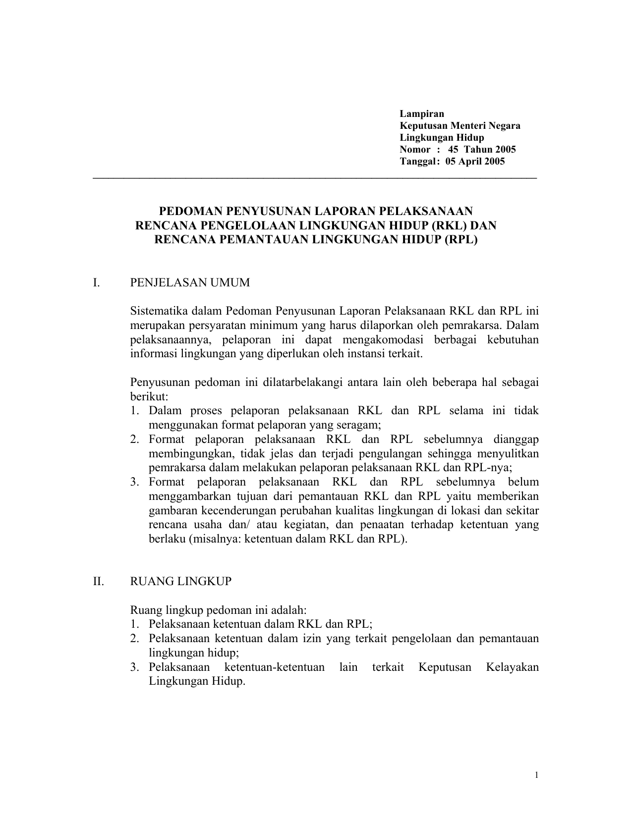 Rkl Dan Rencana Pemantauan Lingkungan Hidup Rpl