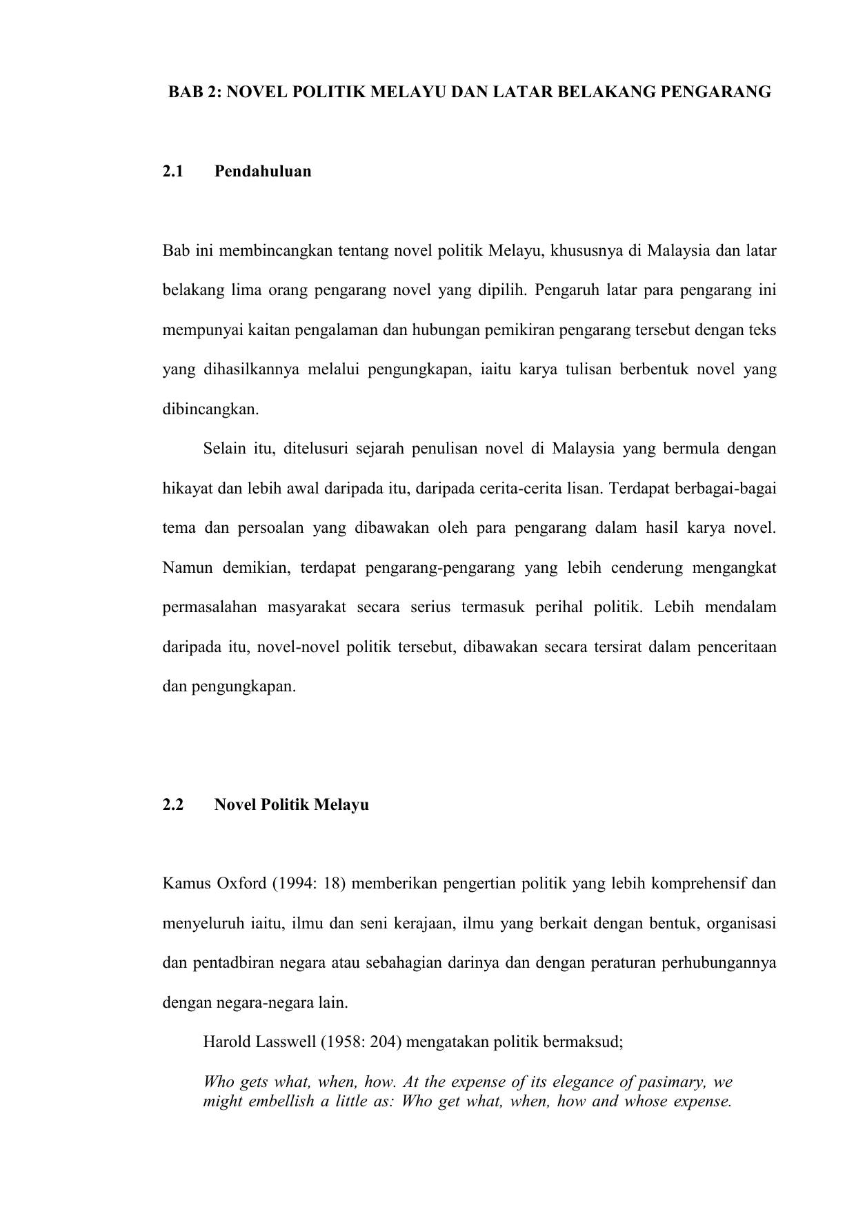 Bab 2 Novel Politik Melayu Dan Latar Belakang